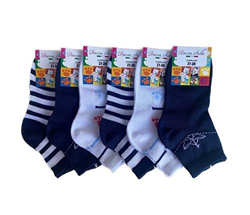 DREAM SOCKS calzini CORTI alla caviglia per BAMBINO e BAMBINA in fresco cotone,super leggero, colorate, bianche blu rosa prodotto MADE IN ITALY (27-30, set. CRISTOFORO C.)
