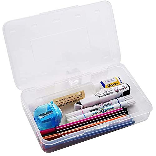 Caja de almacenamiento para lápices de plástico duradero para material escolar, caja pequeña de plástico para lápices (transparente)