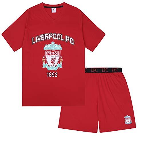 Liverpool FC - Herren Schlafanzug-Shorty - Offizielles Merchandise - Fangeschenk - Rot Wappen - L