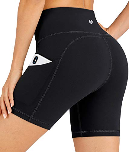 """IUGA Workout Shorts for Women with Pockets 8""""/5"""" Biker Shorts for Women High Waisted Yoga Shorts Compression Running Shorts"""