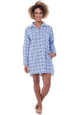 Alexander Del Rossa Womens Woven Cotton Sleep Shirt, Button Down Nightshirt, Large Victorian Mirrored Pattern (A0506V56LG) by Alexander Del Rossa