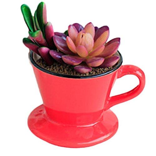Wicemoon Kreativ Keramik Blumentöpfe Rot Kaffeetasse Klein Innen Dekoration 10.5x8.5x7 m