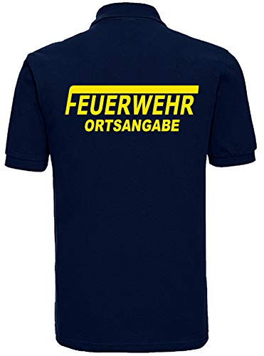 Feuerwehr Polo-Shirt Navy mit Aufdruck in Neongelb oder reflexsilber (L, Neongelb)