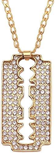 JIUJINKreative Herren Legierung Rasiermesser Anhänger Halskette Mode Gold Farbe Kette Kristallklinge Halskette für Männer Neue Hip Pop Kette Halsketten