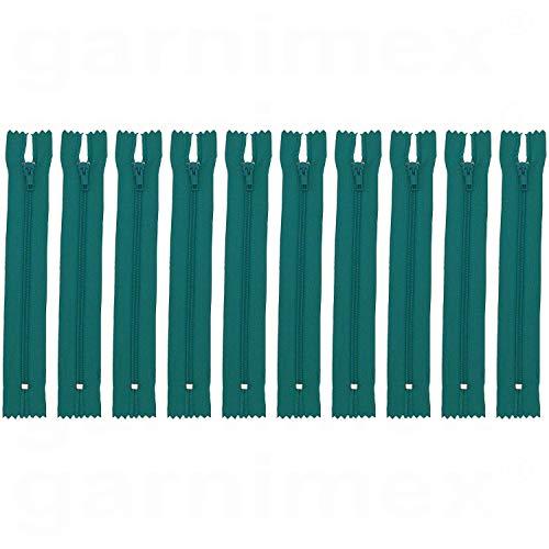 garnimex Cremallera de 30 cm x 10 unidades, color 27 aguamarina surtida, no divisible.