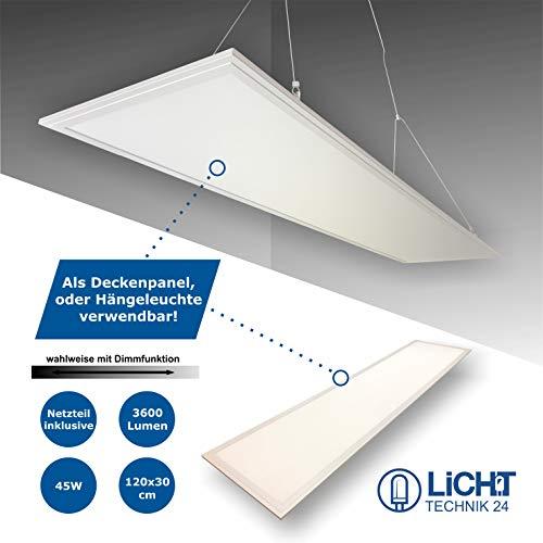 LED Panel 120x30cm, weiß, 45W LED Büroleuchte, Pendelleuchte, flache LED Deckenleuchte, Wohnzimmer-Lampe (neutralweiß, nicht dimmbar)