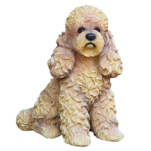 HTian Realistic Sitting Resin Poodle Statue 11.81' Tall Lifelike Puppy Sculpture Animal Model Figurine