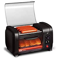 Elite Gourmet EHD-051B Hot Dog Toaster Oven, 30-Min Timer, Stainless Steel Heat Rollers Bake & Crumb Tray, World Series Baseball, 4 Bun Capacity, Black