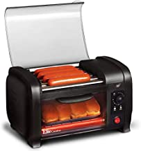 Elite Cuisine EHD-051B Hot Dog Toaster Oven, 30-Min Timer, Stainless Steel Heat Rollers Bake & Crumb Tray, World Series Baseball, 4 Bun Capacity, Black