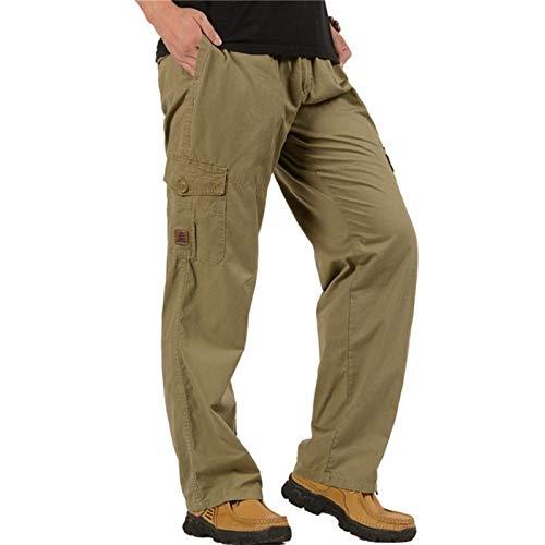 N/ A Hombres Resistentes al Desgaste Cargo Combat Builders Warehouse Workwear Trouse Cintura elástica Loose Fit con Bolsillo de botón