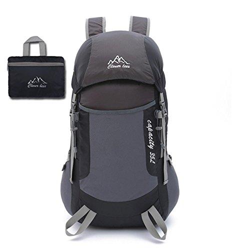 Alpinisme sac à dos couples style léger portable pliable Outdoor sport Pack racksack Skin Bag pour voyage alpinisme randonnée pédestre Camping 5 couleurs, H48 x W27x T20CM , black
