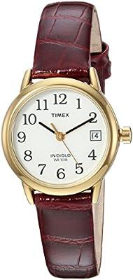 Timex Women's TW2R63400 Easy Reader 25mm Burgundy Croco Pattern Leather Strap Watch