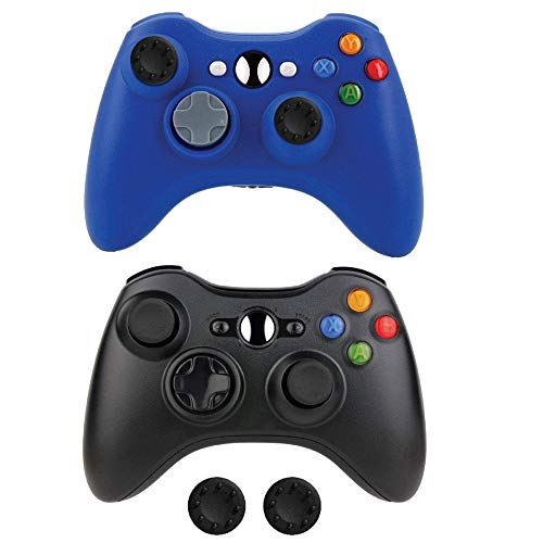 Wireless Xbox 360 Controller 2 Pack, Bek Design Remote Gamepads 4 Non-Slip Joystick Thumb Grips, Double Shock Vibration and Live Play for Microsoft Xbox 360 Slim PC Windows 10 8 7 Color (Blue & Black)