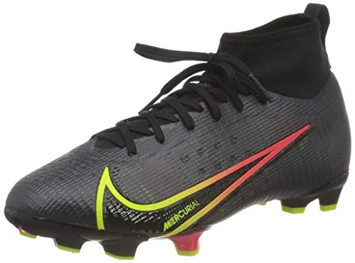 Nike JR Superfly 8 PRO FG, Scarpe da Calcio, Black/Cyber-off Noir-Obsidian-Siren Red, 35 EU