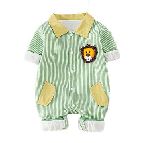 Pijamas para bebé Mamelucos de una Pieza Unisex niña niño Salir Manga Larga para recién Nacidos Mono para niños con Solapa Mono de algodón Primavera y otoño 0-3 Meses en Ropa,A,90cm