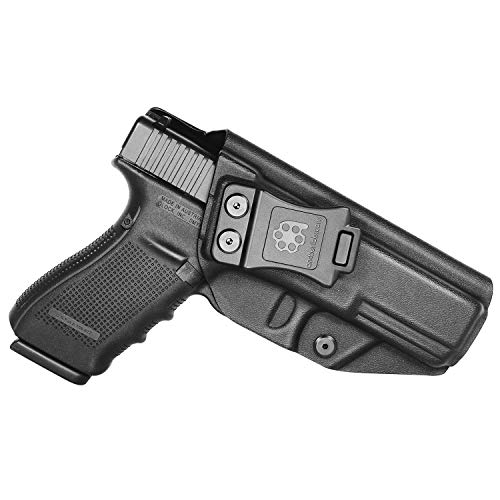 Glock 20/21 Holster, Amberide IWB KYDEX Holster Fit: Glock 20/Glock 21 Pistol Holster | Inside Waistband | Adjustable Cant | US KYDEX Made (Black, Right Hand Draw (IWB))