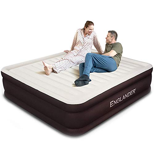 Englander First Ever Microfiber California King Air Mattress, Luxury Microfiber airbed with Built-in Pump, Highest End Blow Up Bed, Inflatable Airbed for Guests Home Travel 5-Year Warranty (Brown)