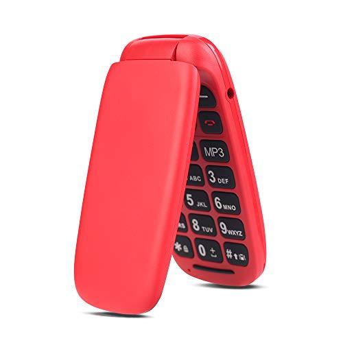 Telefono Móvil con Tapa para Personas Mayores, Ukuu 800mAh Móvil para Mayores Teclas Grandes gsm Dual SIM Fácil de Usar para Ancianos Rojo