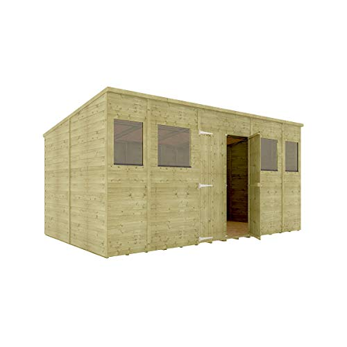 14 x 8 Pressure Treated Hobbyist Pent Shed Tongue & Groove Shiplap Cladding Construction Central Door OSB Floor Wooden Garden Shed 4.26m x 2.43m