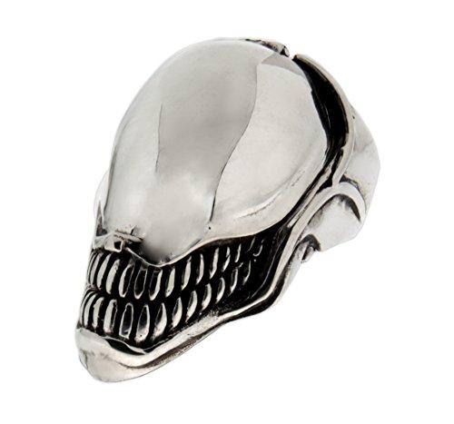 Schwerer Ring Alien aus 925 Sterling Silber, oxidiert
