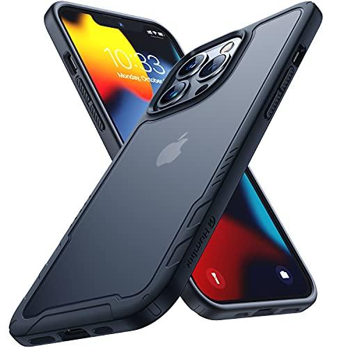 Humixx Kompatibel mit iPhone 13 Pro Hülle [Military Grade Drop Tested] Scrub Matte Transluzent Rückseite mit Silikon Bumper Schutzhülle,Anti-Kratzen,Anti-Fingerabdruck, Handyhülle 6,1 Pro Zoll-Schwarz