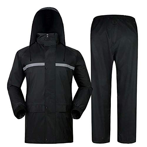 CUIJU Regenanzug für Männer Frauen Leichte wasserdichte Regenmantel-Sets Winddichte Regenbekleidung mit Kapuze Arbeitskleidung,schwarz,3XL