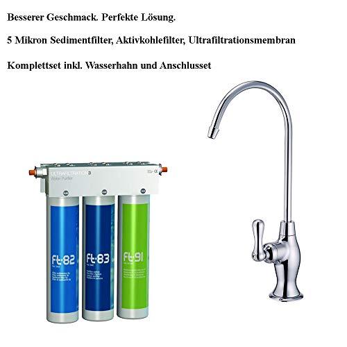 Puricom FT-LINE 3. Aktivkohle-Wasserfilter-System mit UF-Filtration mit Einweg Wasserhahn Oslo Chrom inkl. Anschlusset