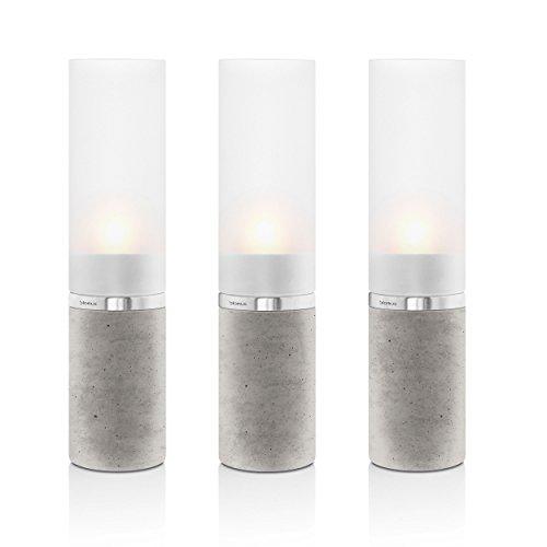 Blomus Windlicht, Edelstahl, Beton, 5 x 5 x 20.5 cm, 3-Einheiten