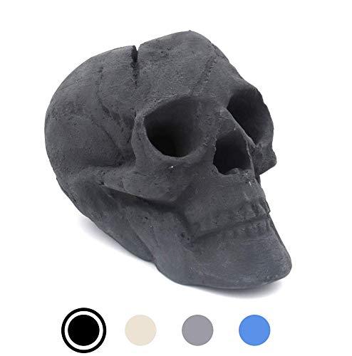 OSKER Ceramic Fireproof Fire Pit Skull Log for Bonfire, Campfire, Fireplace, Firepit | Halloween Decor | for Gas, Propane, or Wood Fires | 9 Inch - Black