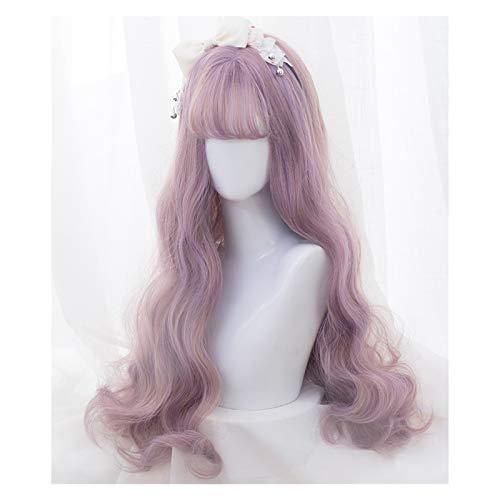 ZHIHUI Pelucas De Cabello Mujer Lolita Peluca Rosa púrpura Mezcla Chica Largo Rizado Ondulado Cosplay Peluca Pelo sintético Pelucas Flequillo Traje Pelucas Mujer (Color : Pink+Purple)