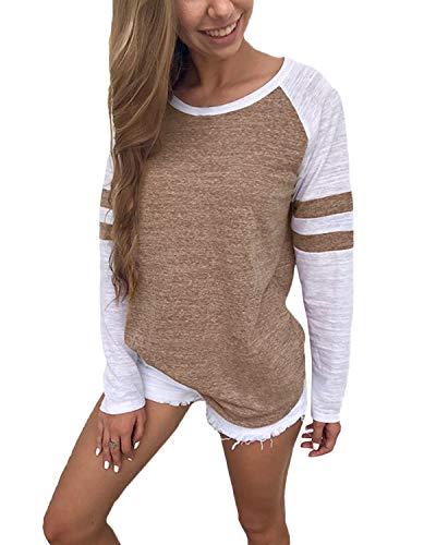 YOINS Pulli Damen Langarmshirt Sweatshirt mit Streifen Rundhals Ausschnitt Oversize Hemd, Streifen-khaki, Gr.- L/ 44