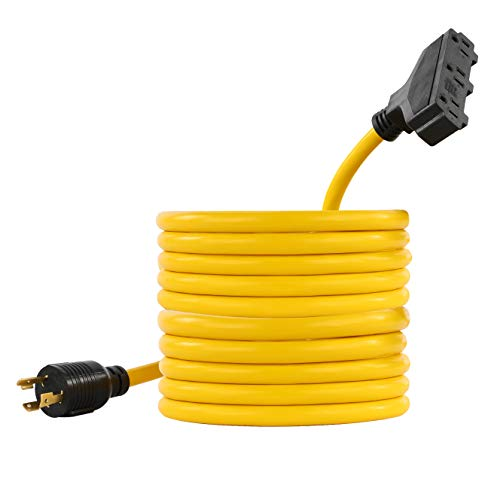 Houseables 30 AMP Extension Cord, L5-30P to 5-15R, 25 ft, 1 Pk, 3,750 Watts, 125 Voltage, 3 Prong, 3 Outlet, Electrical Power Equipment, for Generator, Rubber, Generators Accessories, Yellow Cords