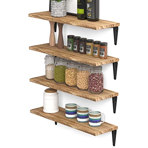 Wallniture Arras Floating Shelves Wall Mounted Set of 4, Wood Wall Shelves for Kitchen Organization and Storage, Burned Finish