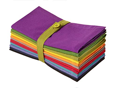 COTTON CRAFT Classic Cotton Kaleidoscope Set of 12 Pure Cotton 20 x 20 inch Dinner Napkins, Assorted Colors