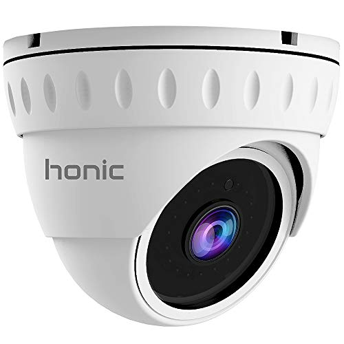 Bright Clear Night Vision 2MP Wide Angle (AHD TVI CVI 960H) Indoor Outdoor Dome CCTV Camera, Honic 1080P Security IR Analog Camera, Waterproof Eyeball Cam for Surveillance (Metal)