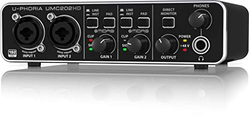 Behringer U-PHORIA UMC202HD interfaccia audio 2x2 USB 24 BIT e 192 Khz con PREAMP MIDAS e Alimentazione PHANTOM +48V, Nero