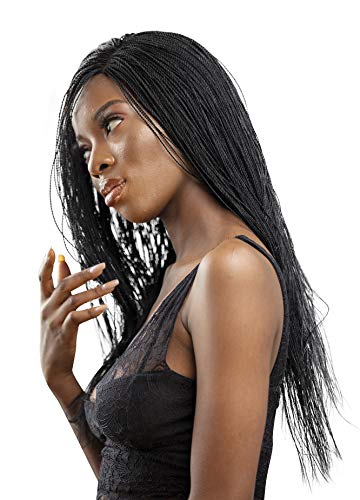 JBG SERVICES Authentic African Braided Wigs - Micro Million Twist Wig for African American Women - Lace Closure for Natural-Look Hairline - 2 Hair Pins Included - 18 Inch Color 2 Dark Brown