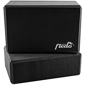 Fledo Yoga Blocks (Set of 2) 9″x6″x4″ – EVA Foam Brick, Featherweight and Comfy – Provides Stability and Balance – Ideal for Exercise, Pilates, Workout, Fitness & Gym