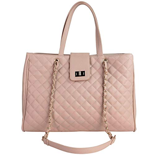 VEGAN LEATHER: High Quality Fashion doesn't have to be cruel or expensive. Choose Vegan Leather, Choose Chavon. LAPTOP TOTE: Crafted in Charming Quilted Vegan Leather to have a ladylike yet versatile style. Partner yours with a demure dress, switchin...