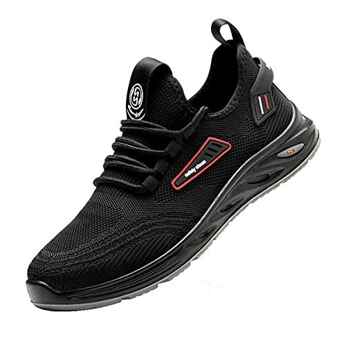 Aingrirn Zapatos De Seguridad Hombre Mujer Calzado De Trabajo con Punta De Dedo del Pie Compuesto Ultraligero Transpirables (Color : Black, Size : 42 EU)