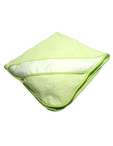 PURALGO-puro algodón. Toalla para bebés de punto de cruz, con gorrito. (verde)