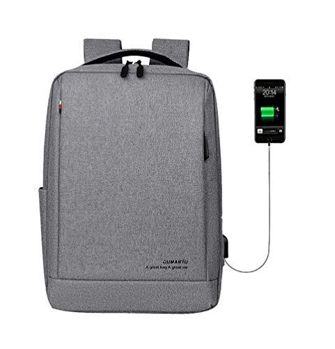 Laptop Backpack, Slim Business Travel Durable Computer Backpack with USB Charging Port College School Computer Bag for Women & Men Fits 15.6 Inch Laptop and Notebook Gray