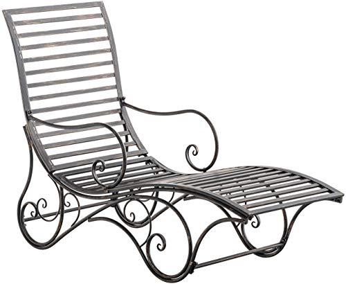 CLP Chaise Longue De Jardin Amiens en Fer Forgée I Bain De Soleil en Métal pour Intérieur Et Extérieur I Transat De Balcon Et Terrasse, Couleurs:Marron Clair