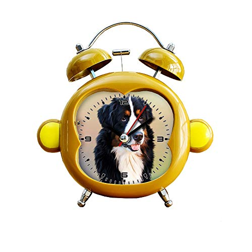GIRLSIGHT1 - Reloj despertador silencioso para habitación infantil, diseño de mono, de cuarzo, analógico, con luz nocturna, 116.perro, perro de montaña berneses