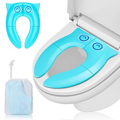 Komake Faltbarer Toilettensitz Kinder Toilettentrainer, Tragbar Reise WC Sitz, Kleinkind Toilette Töpfchen Kindertoilette mit Aufbewahrungstüte
