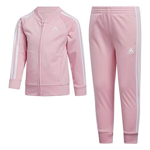 adidas Girls' Little Tricot Jacket & Jogger Active Clothing Set, Light Pink, 5