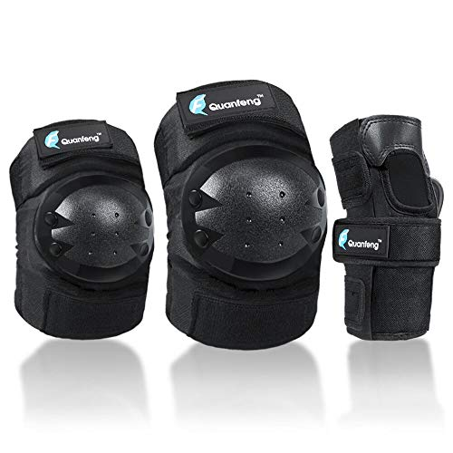QUANFENG QF skateboard Knee Pads Elbow Pads & Wrist Guards Protective Gear for Scooter Roller Skate Inline Skating RidingSuitable for Adults Youth (Black, Adult)