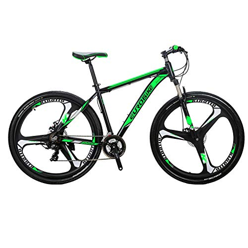 Eurobike X9 Aluminum Frame Mountain Bike 21 Speed 29 Inches 3 Spoke Wheels Dual Disc Brake Mountain Bicycle Blackgreen