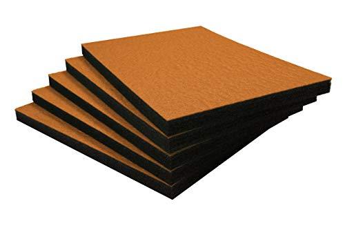 Shadow Foam Easy Peel (600mm x 420mm) - personalisierbarer Schaumstoff für die Organisation von Werkzeugkisten (Fünferpack (30mm Tiefe), Orange auf schwarz)