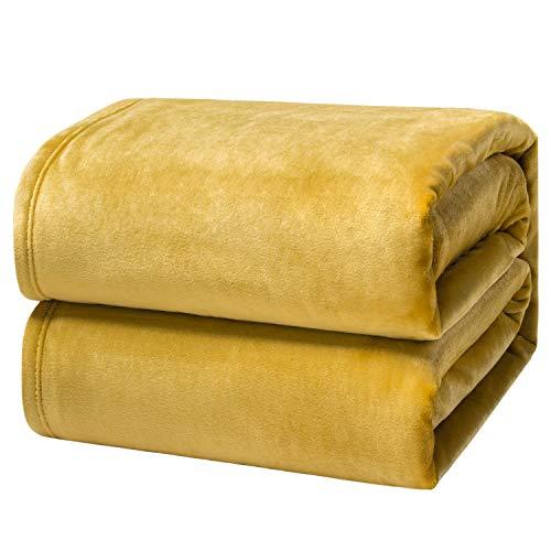 Bedsure Manta para Sofás de Franela 130x150cm - Manta para Cama 90 Reversible de 100% Microfibre Extra Suave - Manta Amarilla Transpirable